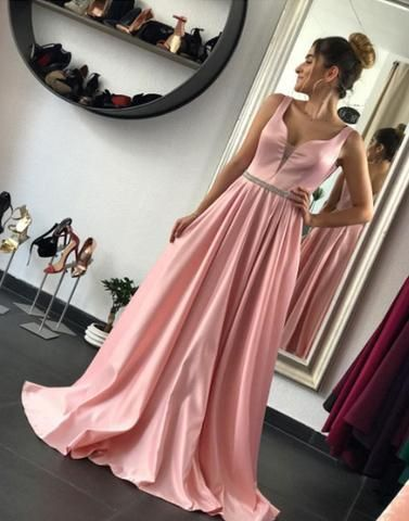 2017 formal beauty A-line dusty pink long prom dress, PD5875