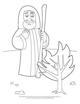 Coloring Page Moses And The Burning Bush Bible Crafts Church