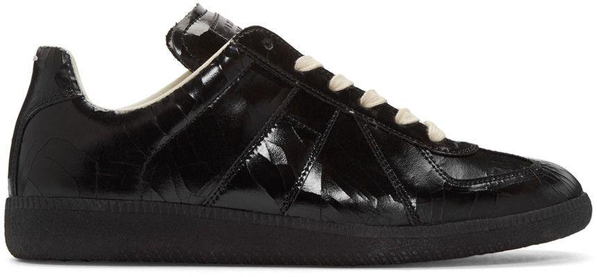 MAISON MARGIELA Black Cracked Replica Sneakers. #maisonmargiela #shoes # sneakers