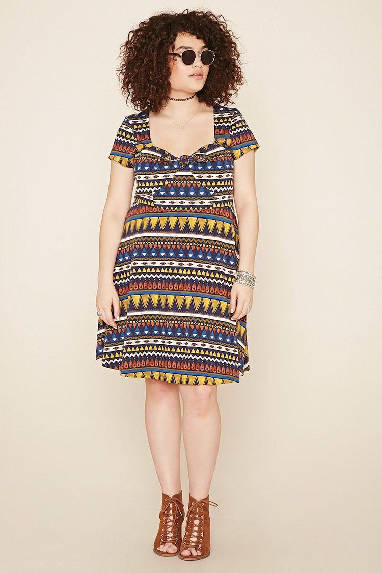 4e6fdd61aafc Plus Size Tribal Print Dress