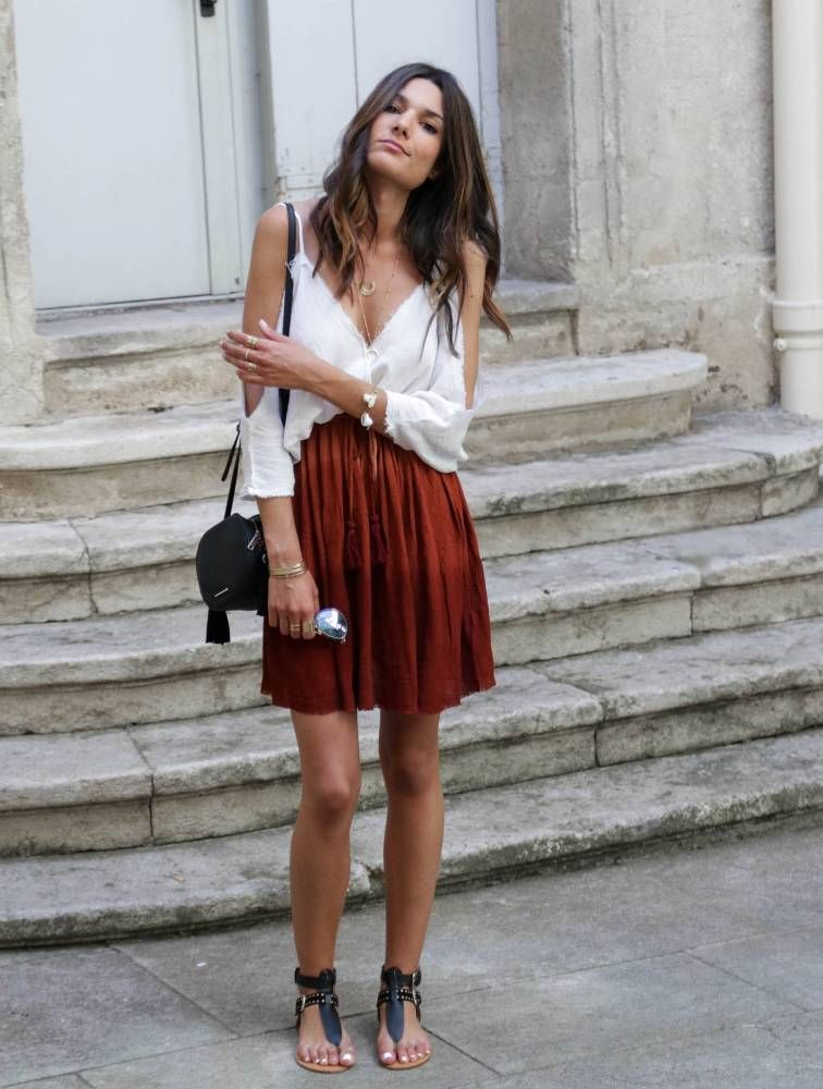 cold shoulder top with full skirt