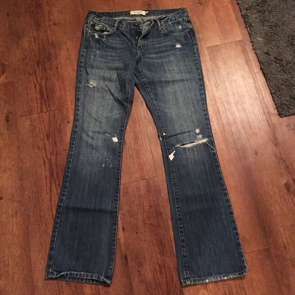 Abercrombie and Fitch Jeans Abercrombie and Fitch jeans size 6 Regular. Destroyed on purpose with holes in knee and paint splattered. Abercrombie & Fitch Jeans Boot Cut
