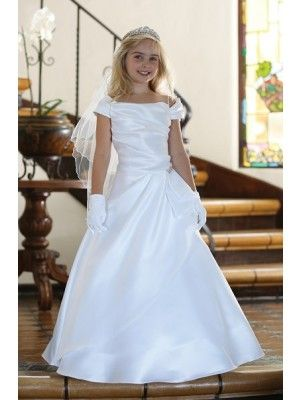 8fb3a7e0054 Elegant White Satin Draping off Shoulder First Communion Dress (Sizes 7-18)