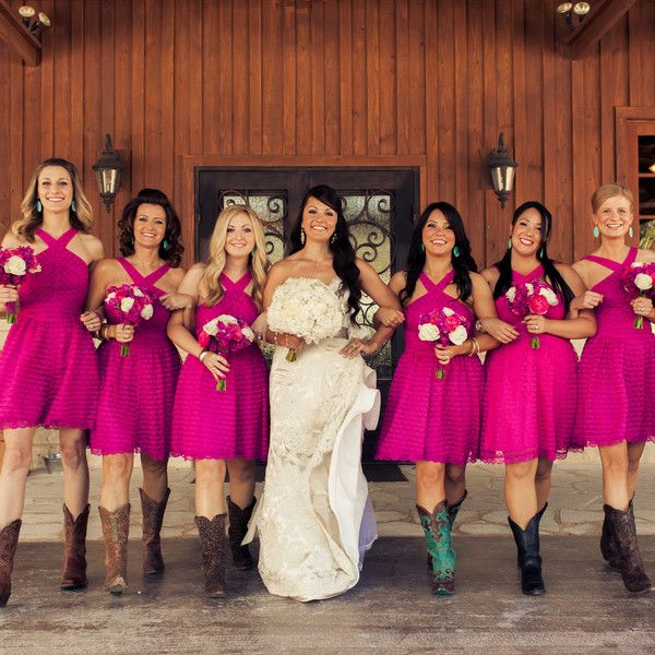 We Love These Hot Pink Bridesmaid Dresses For This Rustic Texas Wedding