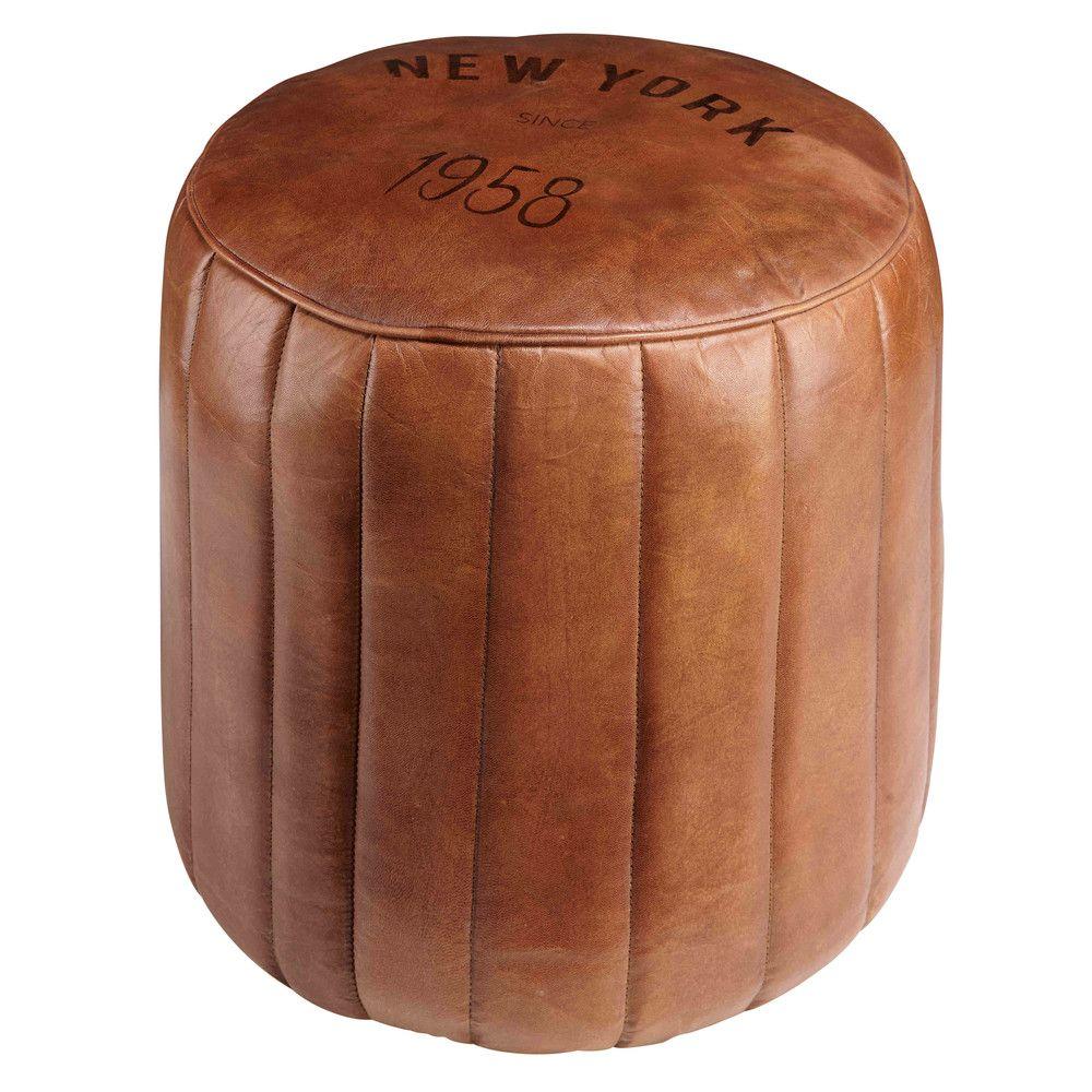 Puf redondo de cuero marrón | Cuero marrón, Marrón y Comprar