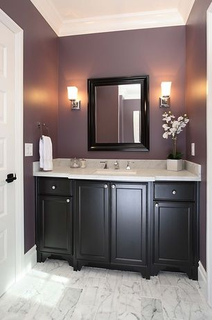 Contemporary Full Bathroom With Wall Sconce Undermount Sink Specialty Door Flat Panel Cabinets