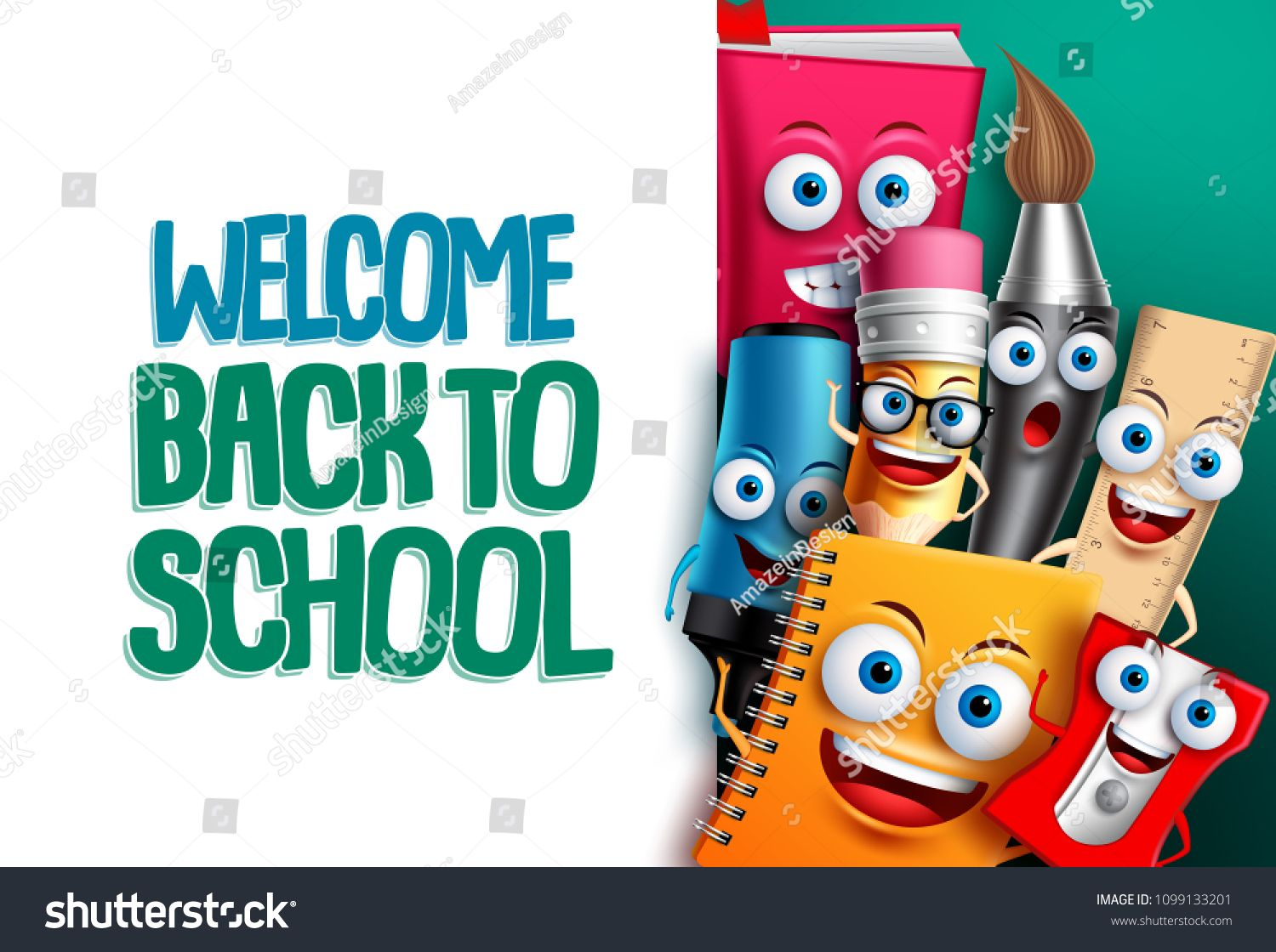 Back To School Vector Characters Background Template With Empty