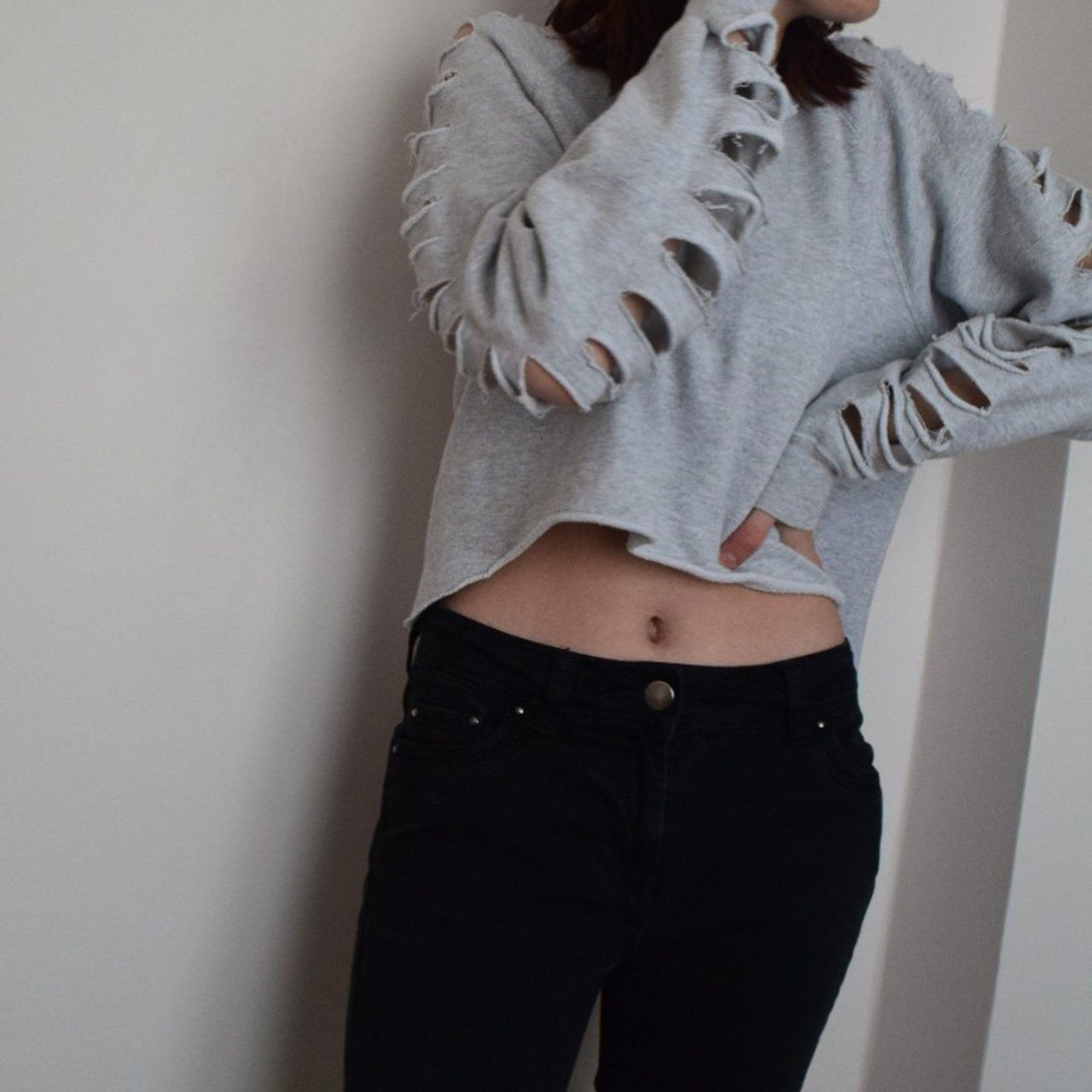 e867a20410 y2k cropped sweatshirt with ripped arms and back from the a - Depop - 30