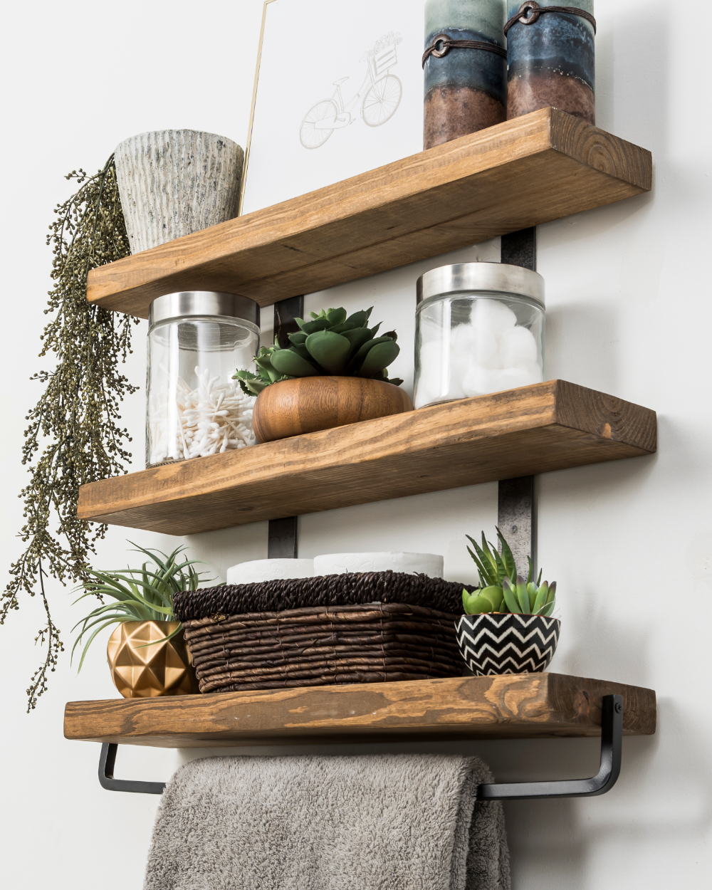 Industrial 3 Tier Floating Shelf With Towel Bar 24 Walmart Com In 2020 Floating Shelves Diy Floating Shelves Floating Shelves Bathroom