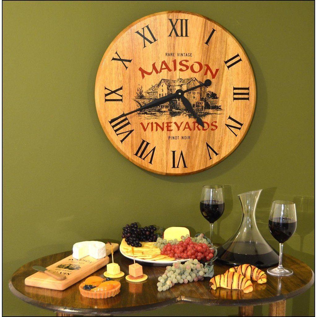 Barrel Head Clock - Maison Vineyard   Wine decor, Barrels and Clocks
