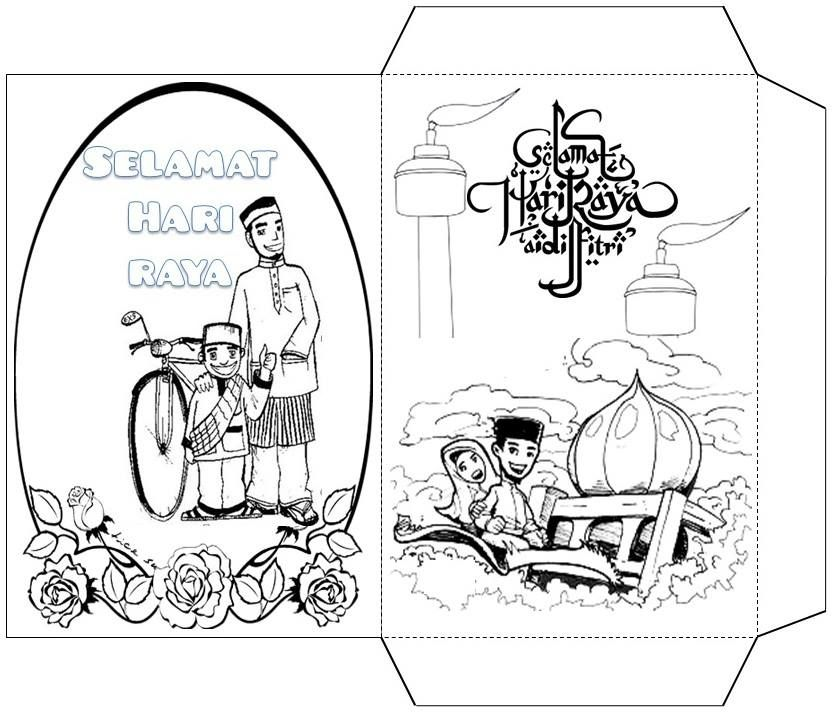 Mari Mewarna Kad Selamat Hari Raya Dan Sampul Duit Raya Gambar Mewarna In 2021 Template Printable Happy Eid Card Templates