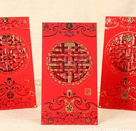 Magicoo 12pcs Chinese Wedding Red Envelopes Fortune Lucky Money Bag Pocket