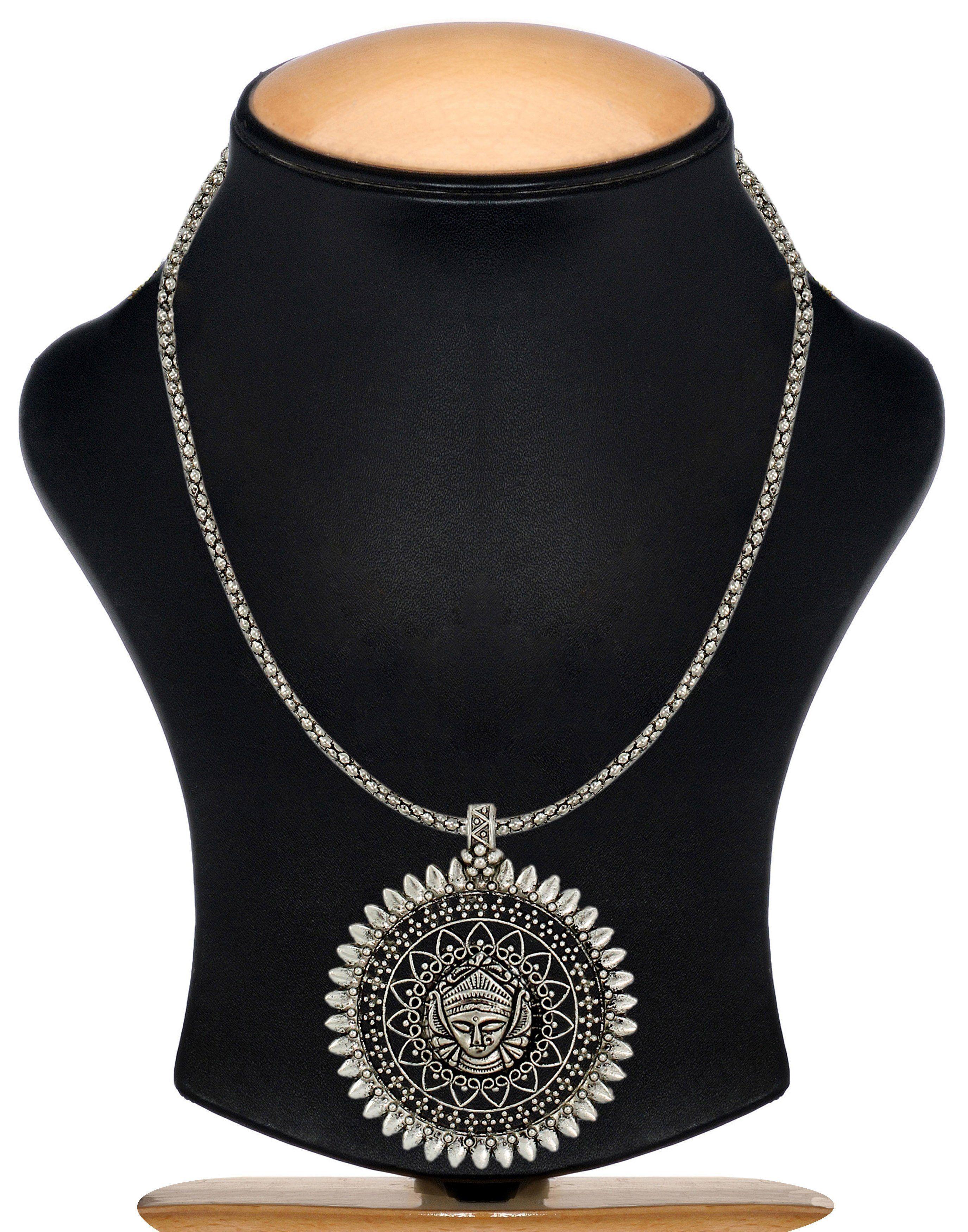 Zaveri pearls divine goddess silver toned necklace zaveri pearls