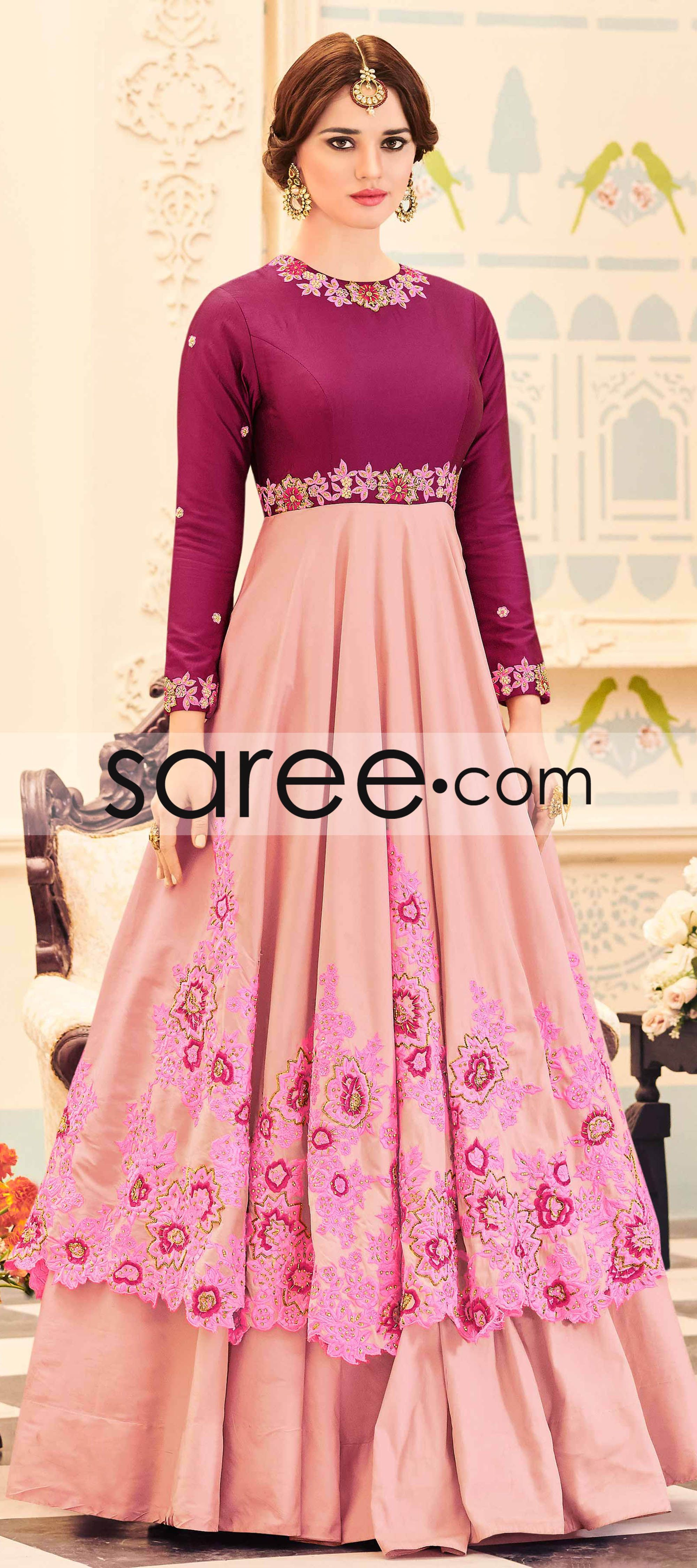 Magenta and Pink Georgette Anarkali Suit With Embroidery Work ...