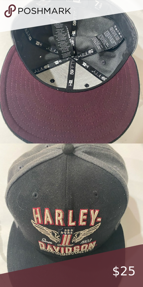 Harley Davidson Fitted Hat Size Xxl Or 7 5 8 Fitted Hats Harley Davidson Accessories Hat Sizes