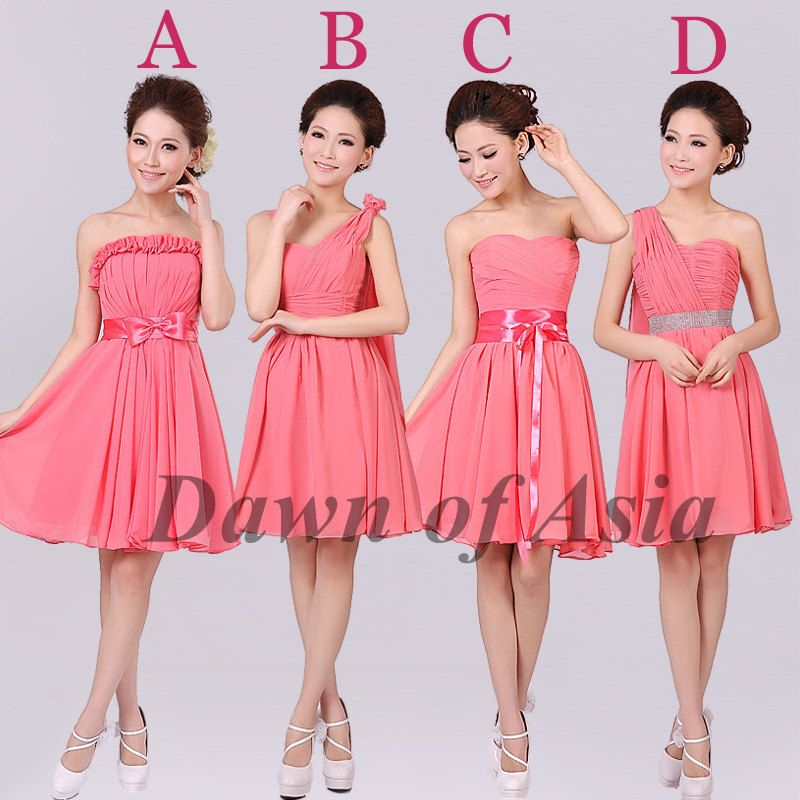 Coral bridesmaid dresses short party dresses / by DawnofAsia, $88.00 ...