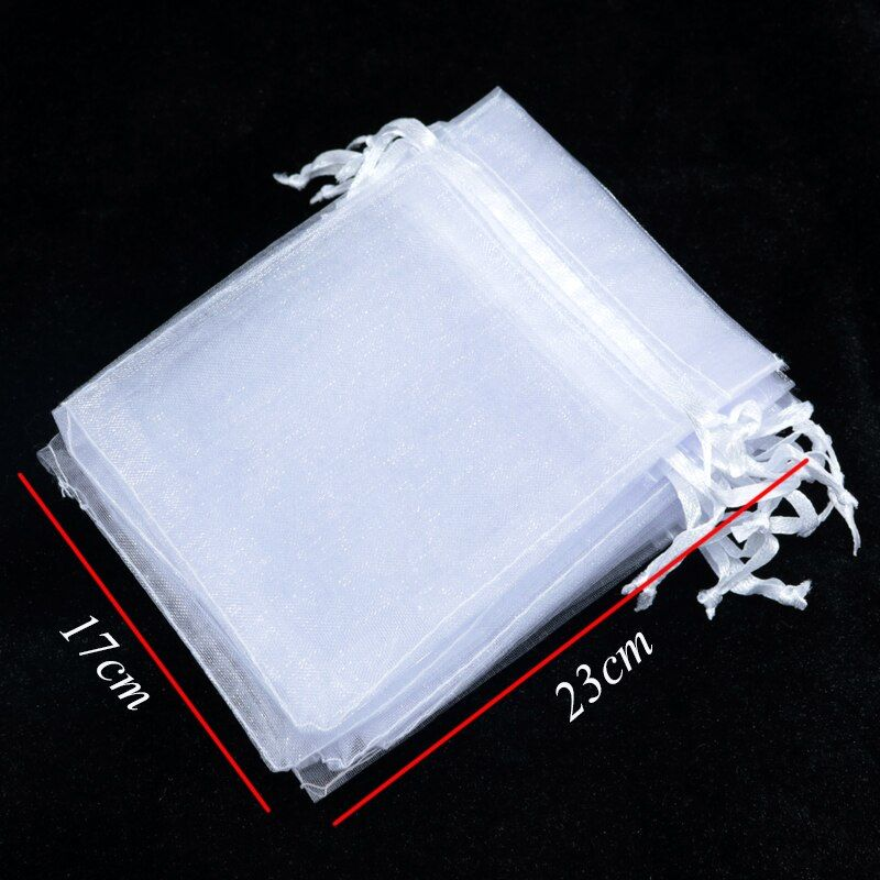 USD$12.33 Hot 17x23cm Organza Bag White Jewelry Packing Drawable Organza Gift Pouch Wedding Gift Bag Candy Pouch Tea Pouch Wholesale