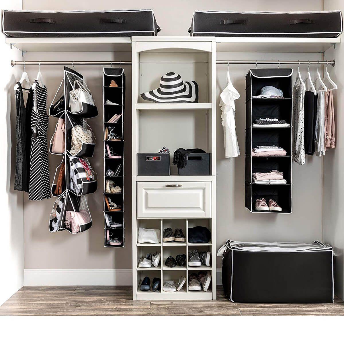 Fabulous Complete Black And White Closet Organizers Closet Organization Closet Shelf Organization Hanging Closet Organizer