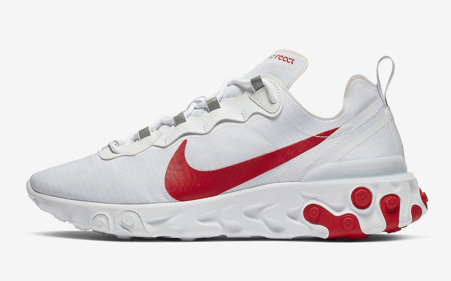 Nike React Element 55 White University Red BQ6167 102