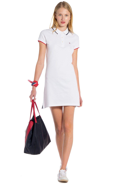 7e3feffd56a Vestido Polo Liso Blanco | Outfit informal | Vestidos polo, Vestidos ...