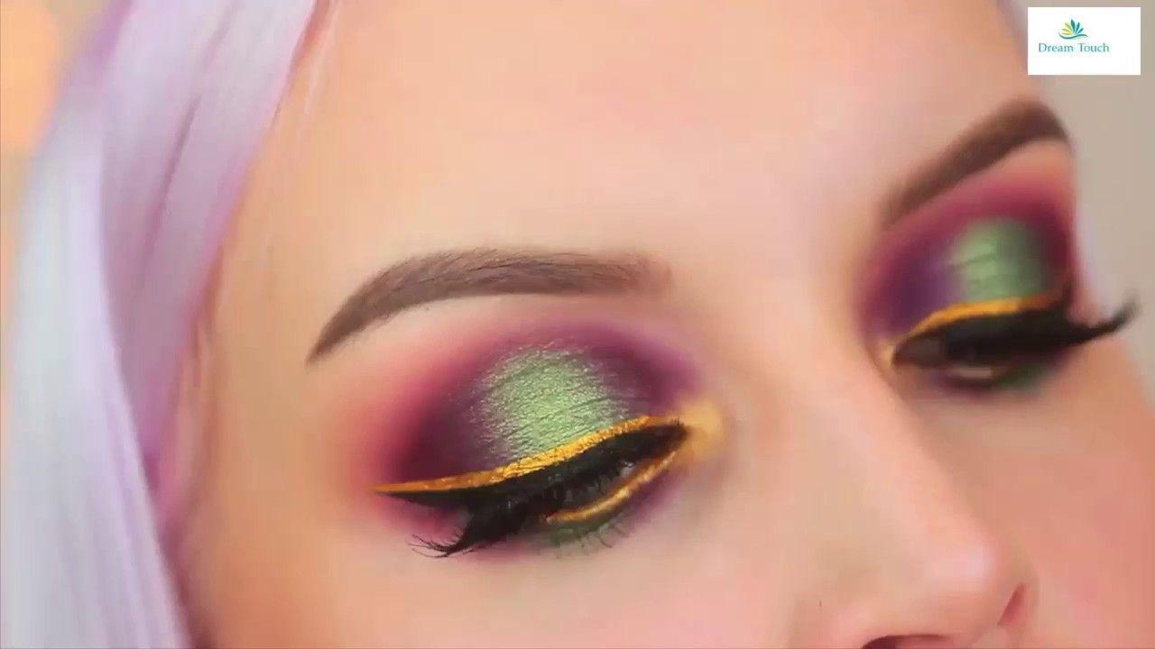 Gold and Green Halo Shadow eye Makeup Tutorial Green & Gold Smokey Eye M..