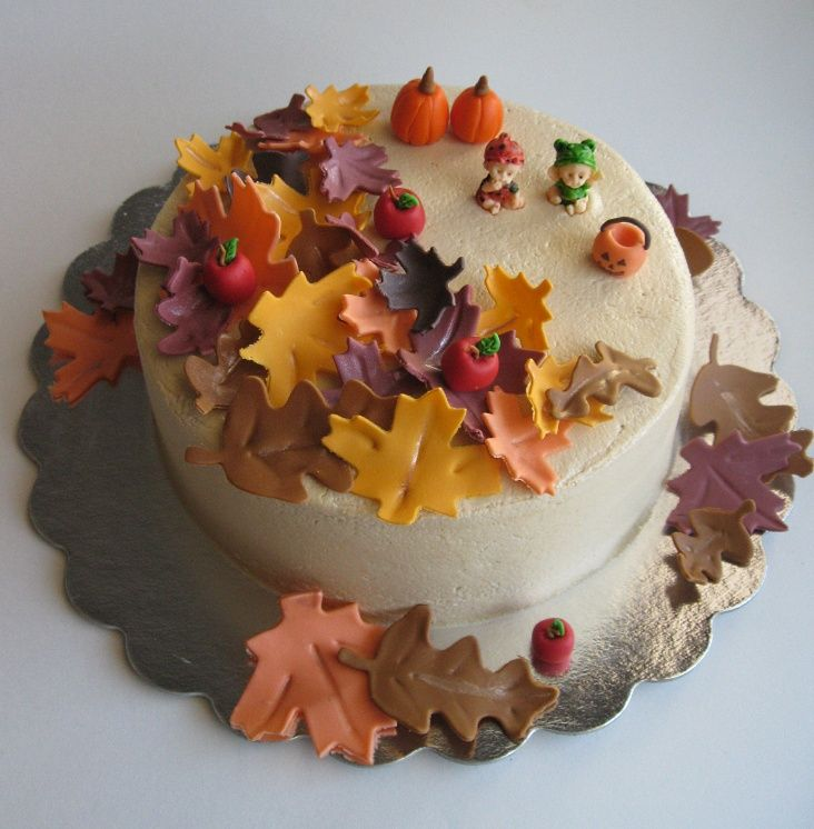 Autumn theme cake i made this cake for an autumn themed for Autumn cake decoration