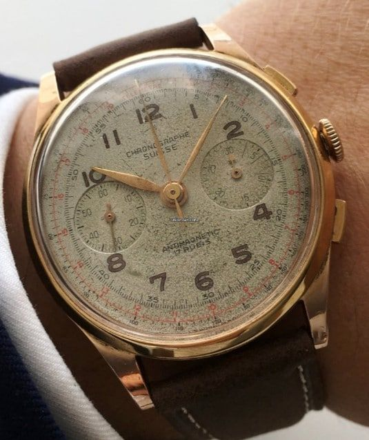 f802c6926a2 Chronograph Suisse Chrono in 18 carat solid pink gold´Vintage 38mm Relógios  Vintage