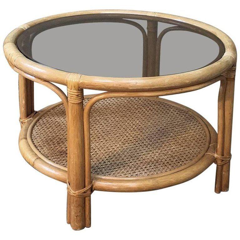 Mid Century Rattan Coffee Table With Glass Top Rattan Coffee