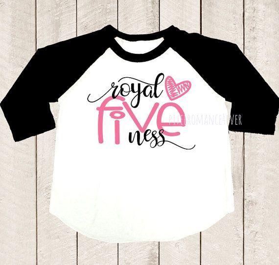 Fifth Birthday Shirt Royal Fiveness Shirt Five Years Old Pink Heart Black Raglan Shirt Kids Girls Diy Birthday Shirt Disney Birthday Shirt Kids Birthday Shirts