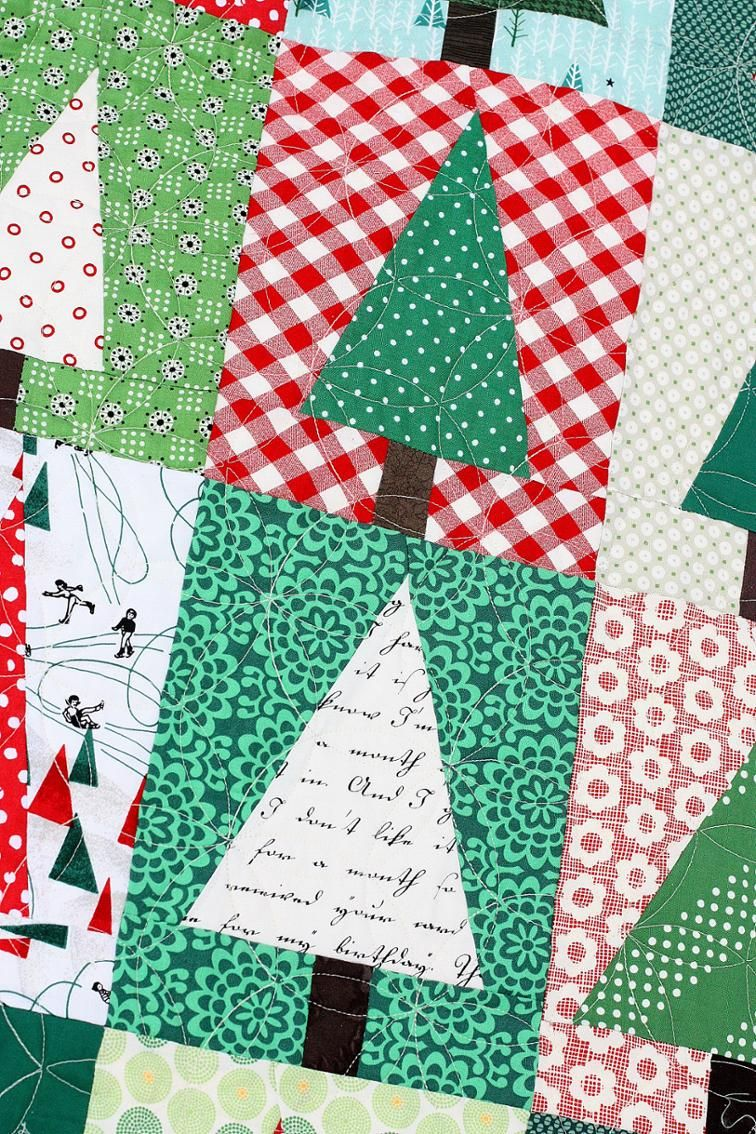 Improv Christmas Tree Quilt Block Christmas Tree Quilt
