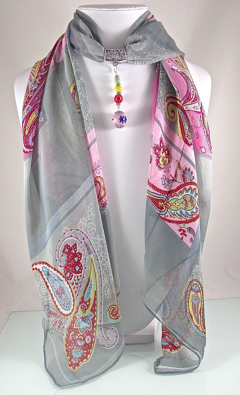 Bijou de foulard sur bélière avec foulard, céramique et métal argenté - 280115-BJ-001 : Echarpe, foulard, cravate par si-mes-perles-etaient-contees