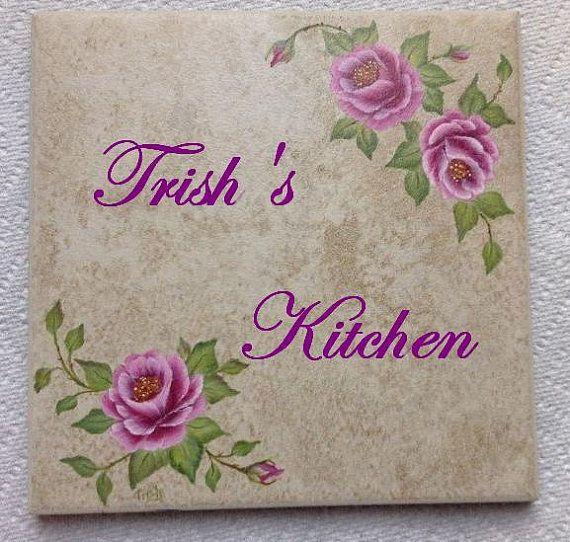 Pink Roses Kitchen Trivet - Floral design Hot plate - Personalized on Etsy, $14.99