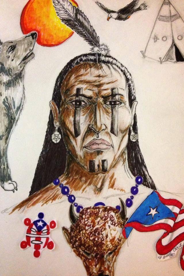 Taino Sketch Pr Primitive Native Indians Puerto Rico Art