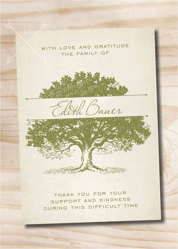 Oak Tree Tree Of Life Sympathy Memorial Funeral Thank You