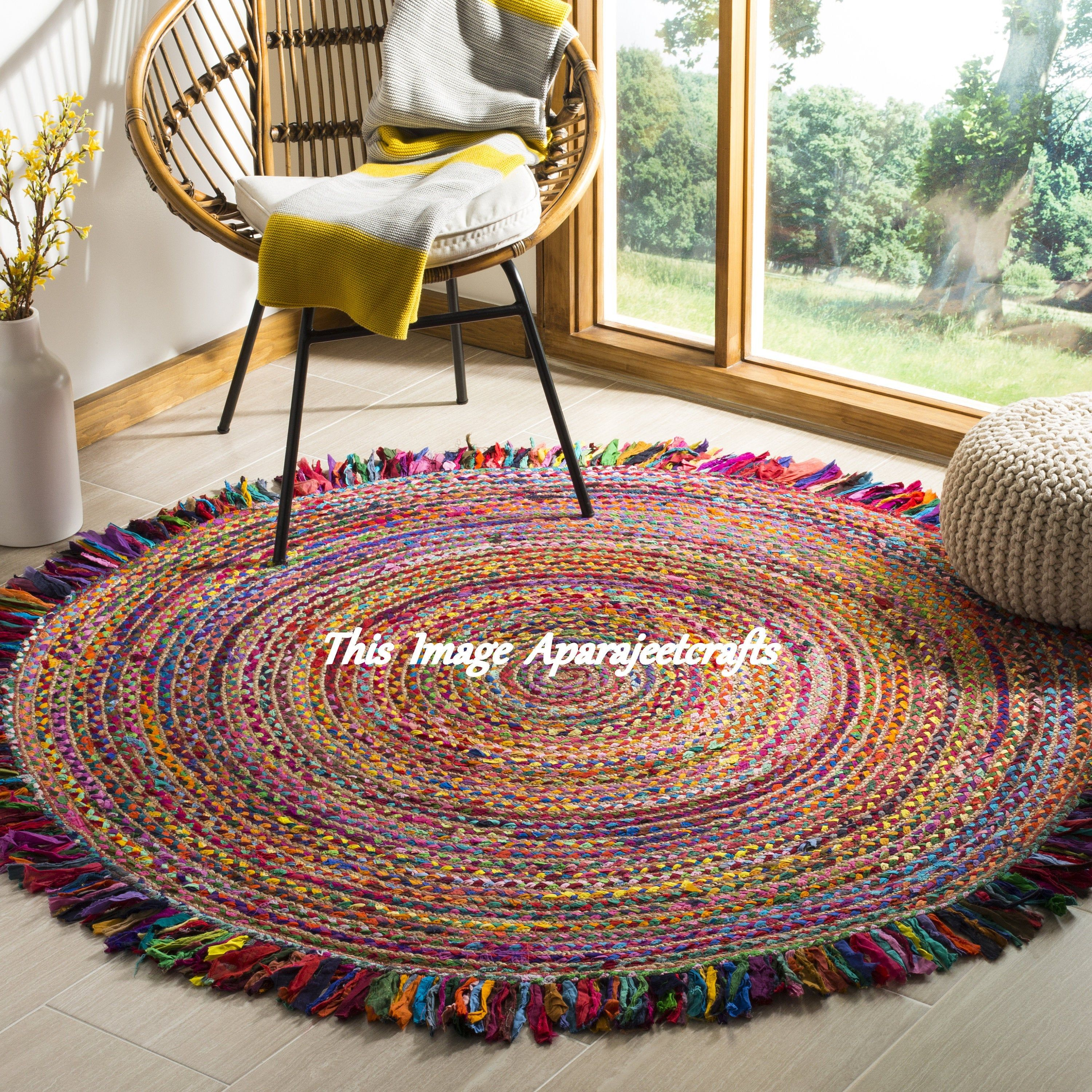 Beautiful Hand Braided Bohemian Colorful Cotton Chindi Area Rug