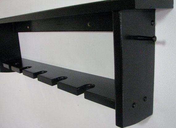 Gloss Black Baseball Bat Display Rack With Display Shelf