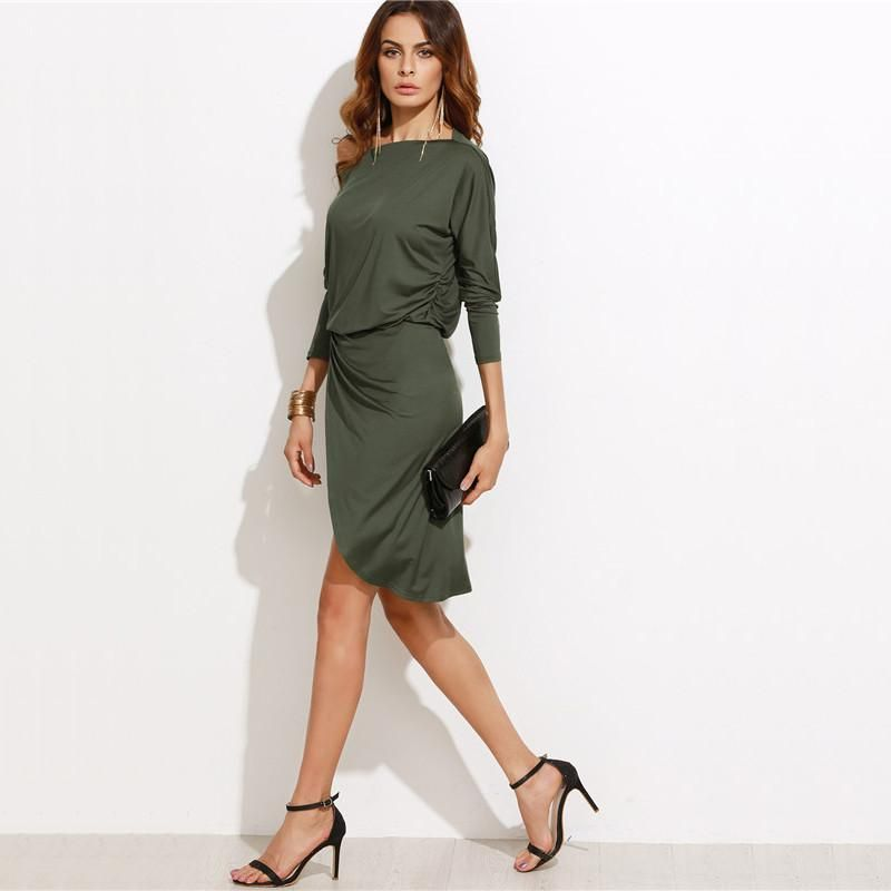 255c56356b8 Vivi Army Green Off Shoulder overlap Dress