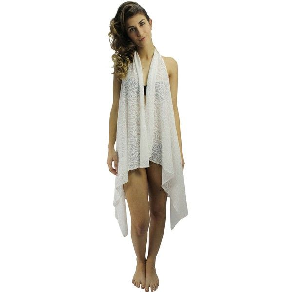 Ivory White Rose Lace Open Back Swim Cover-Up Vest ($30) ❤ liked on Polyvore featuring swimwear, cover-ups, ivory, white halter top, lace halter top, white cover up, lace cover up and cover up swimwear
