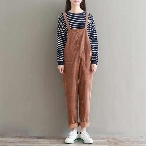 2a682ae68a2b Spring Autumn Women Solid Corduroy Overalls Plus Size Casual Loose Female  Wide Leg Pants Cute Mori Girl Jumpsuits With Pockets