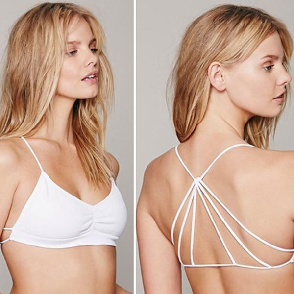 3ed8d1c0b5 Celebrity Sexy Bralette Cage Caged Back Cut Out Padded Bra Bralet Crop Tops