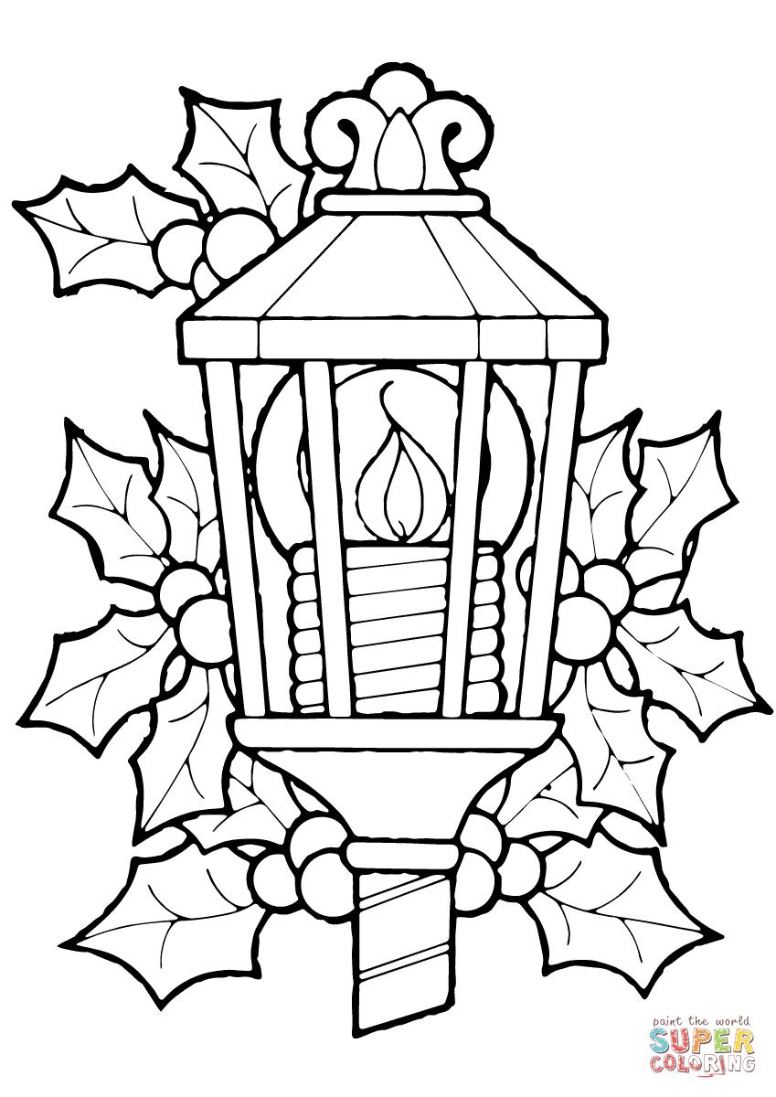Lanterne de Noël avec houx   Super Coloring   Pages de coloriage