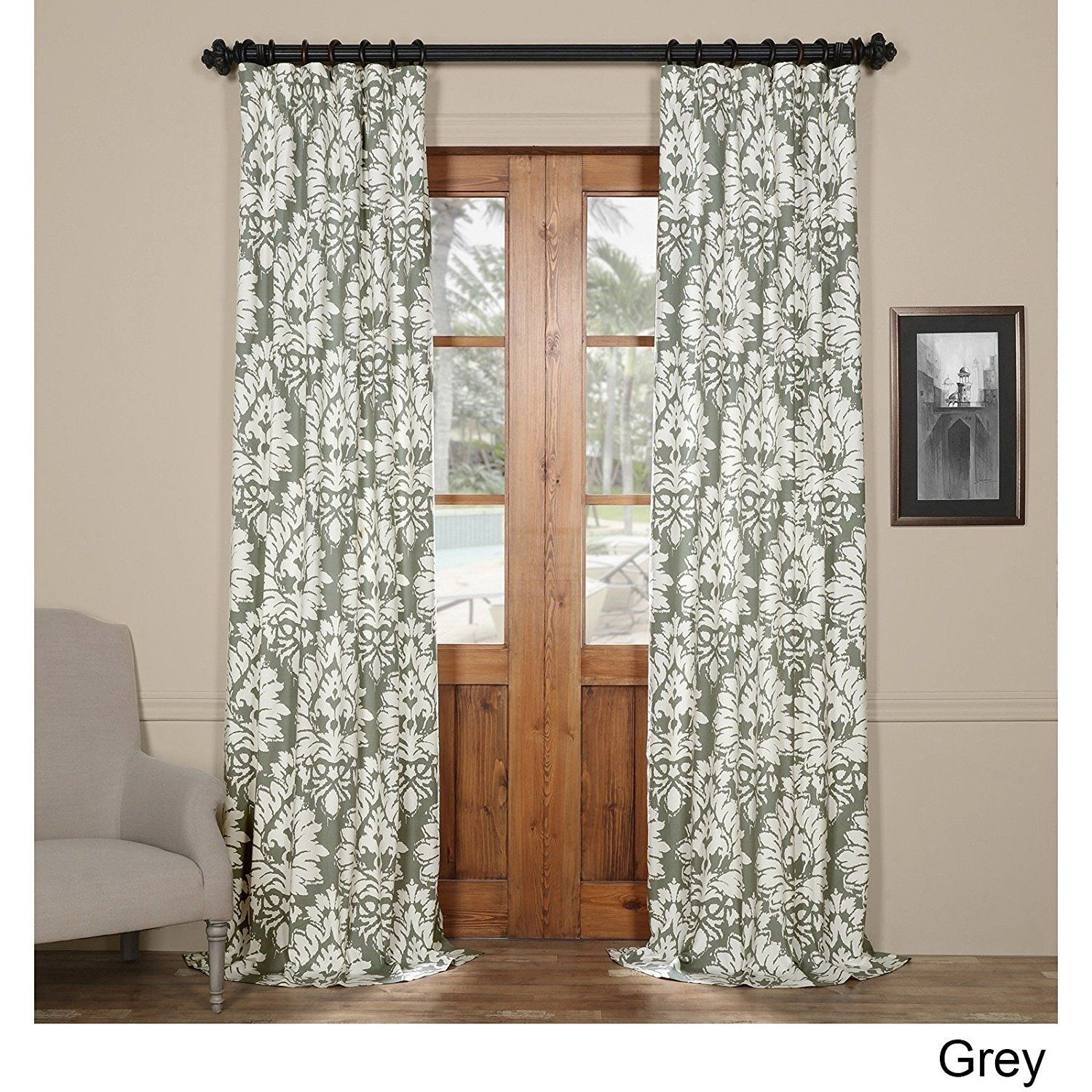 Girls Sage Grey Paisley Floral Window Curtain 96 Inch Single