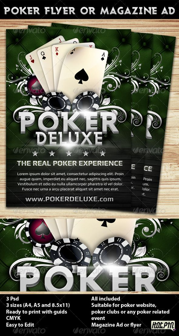 Poker Magazine Ad or flyer Template 4 Magazine ads, Design - sample holdem odds chart template