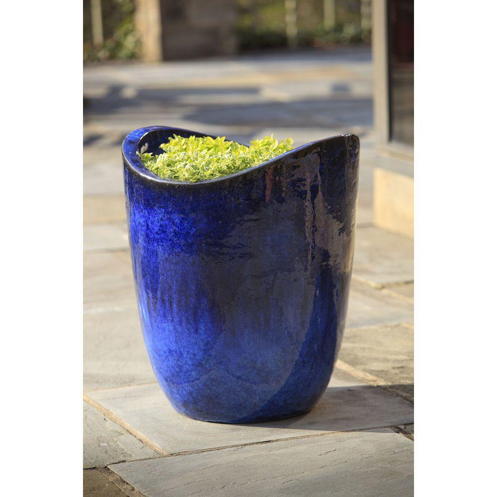 Kinsey Garden Decor Ceramic Modern Planters Riviera Royal Blue Indoor Outdoor Glazed Pottery Plat Pots Blue Planter Planters Riviera Blue