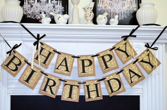 HAPPY BIRTHDAY Banner Birthday Party Decorations Damask Sign Adult Unisex