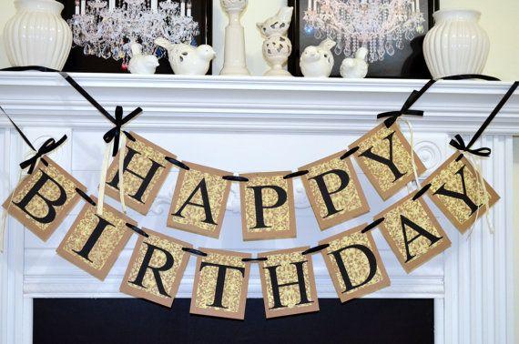 HAPPY BIRTHDAY Banner Birthday Party Decorations Damask