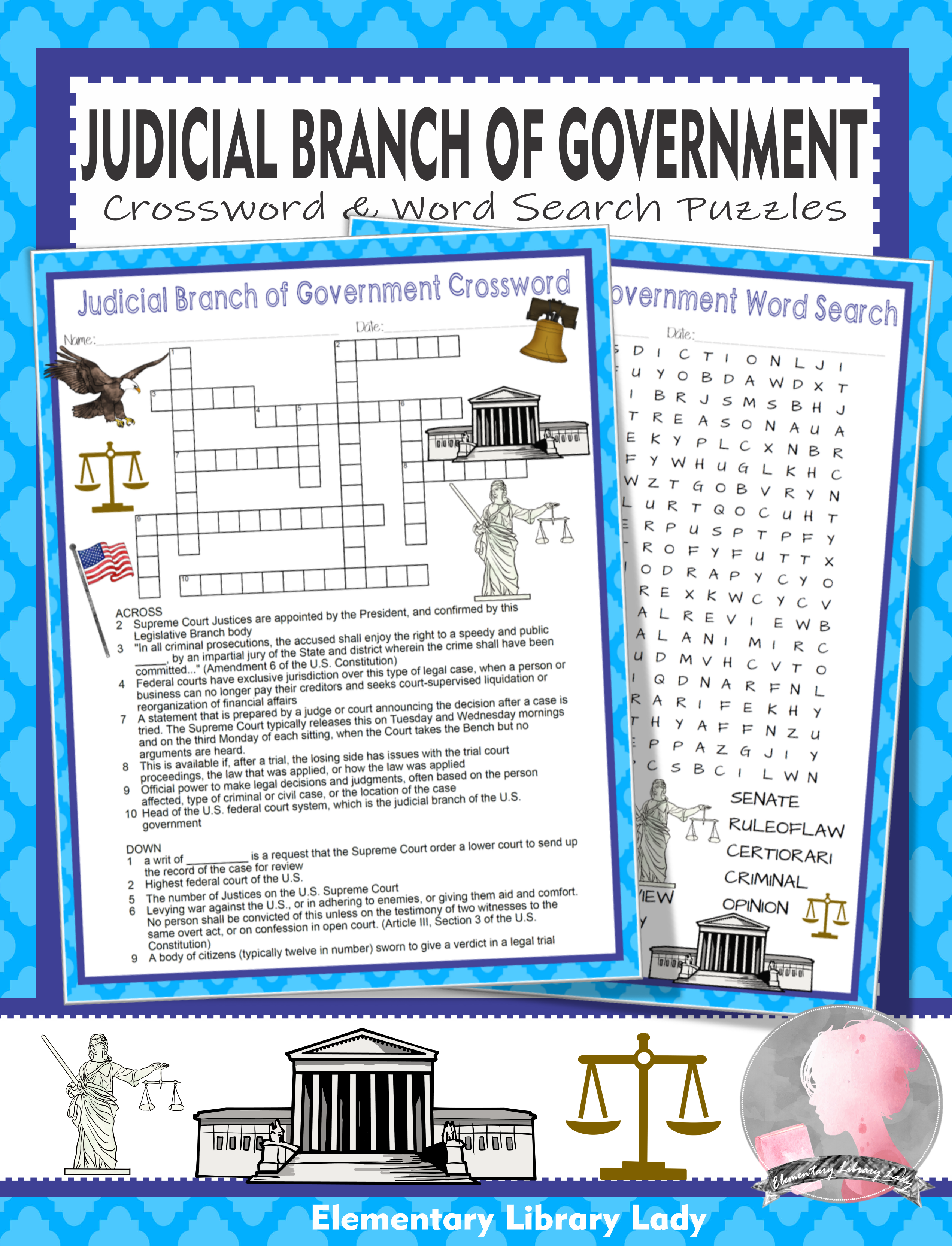 Judicial Branch Of Government Activities Crossword Puzzle