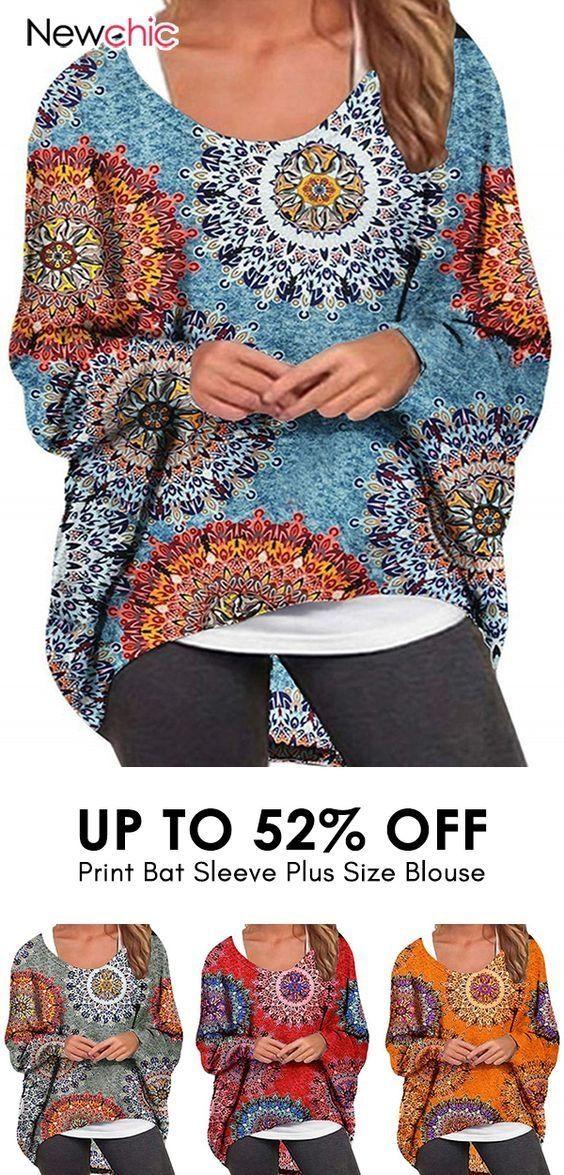 【52% off】Print Bat Sleeve Irregular Plus Size Blouse. #blouse #casualshirts ... 2