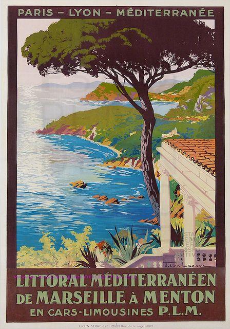 Julien Lacaze Le Littoral Mediterraneen Par Les Trains Plm De Marseille A Menton 76x107 Lucien Serre Travel Posters Retro Travel Poster Vintage French Posters