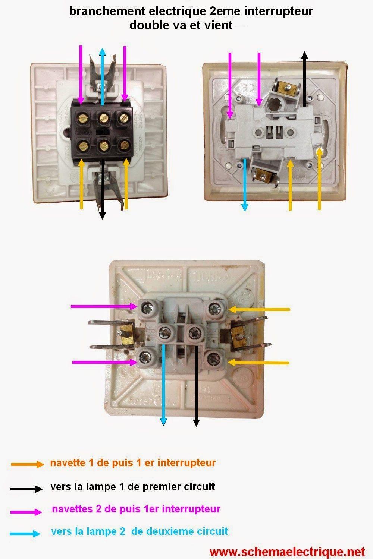 Comment Brancher Un Va Et Vient : comment, brancher, vient, Schéma, électrique, Installation, Double, Vient, Branchement, Dou…, Câblage, électrique,, Electricité, Schema,, Maison